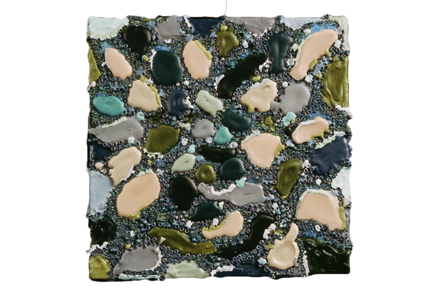 Chameleon, 1999, encaustic, beads, and urethane on canvas, 8 x 8 inches