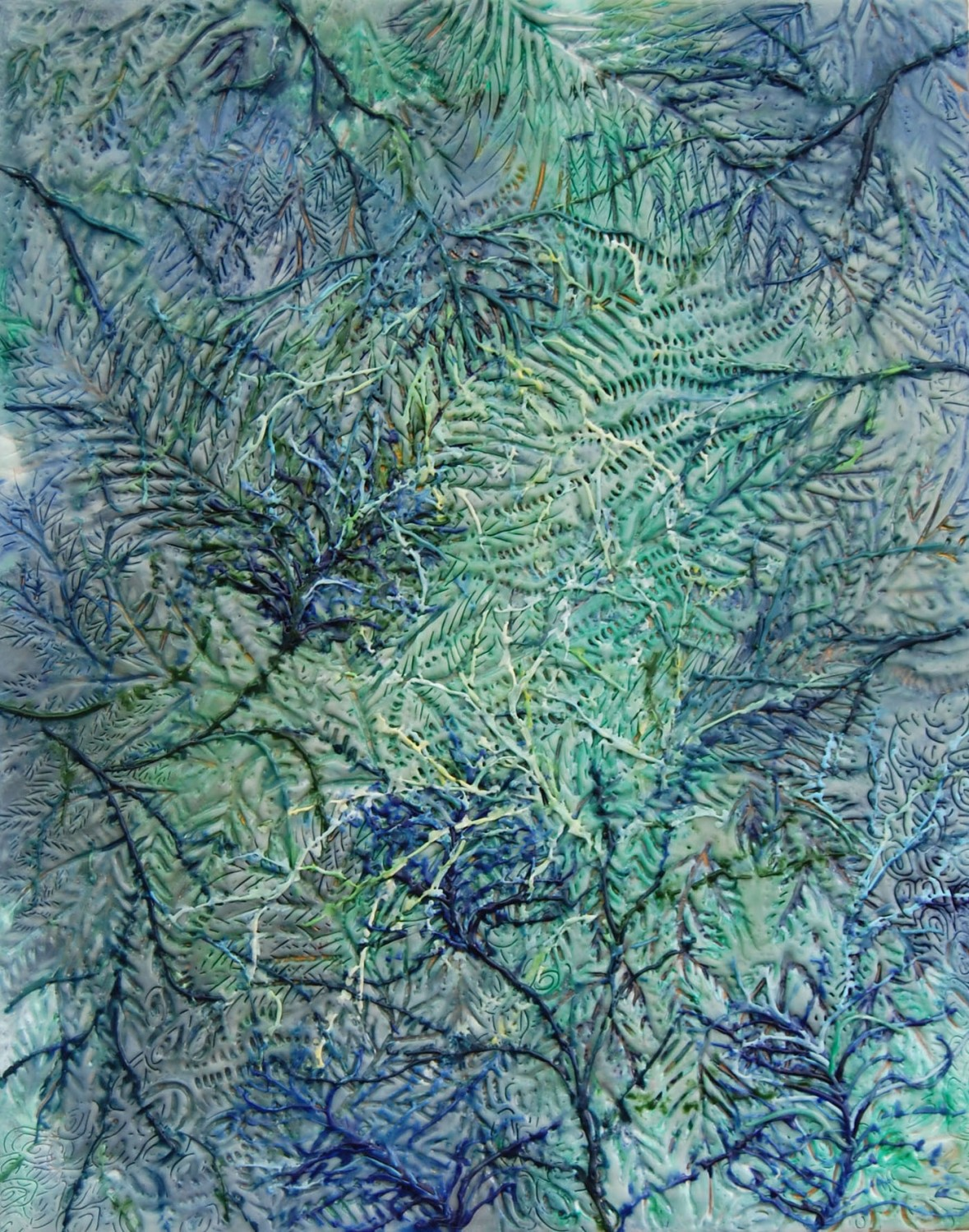 Fern Viscera, 2010, encaustic on panel, 28 x 22 inches