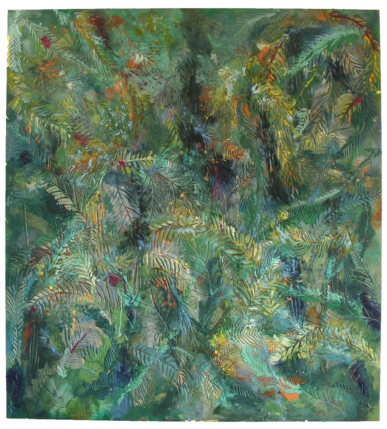 Fossil Forest, 2007, encaustic on panel, 66 x 60 inches