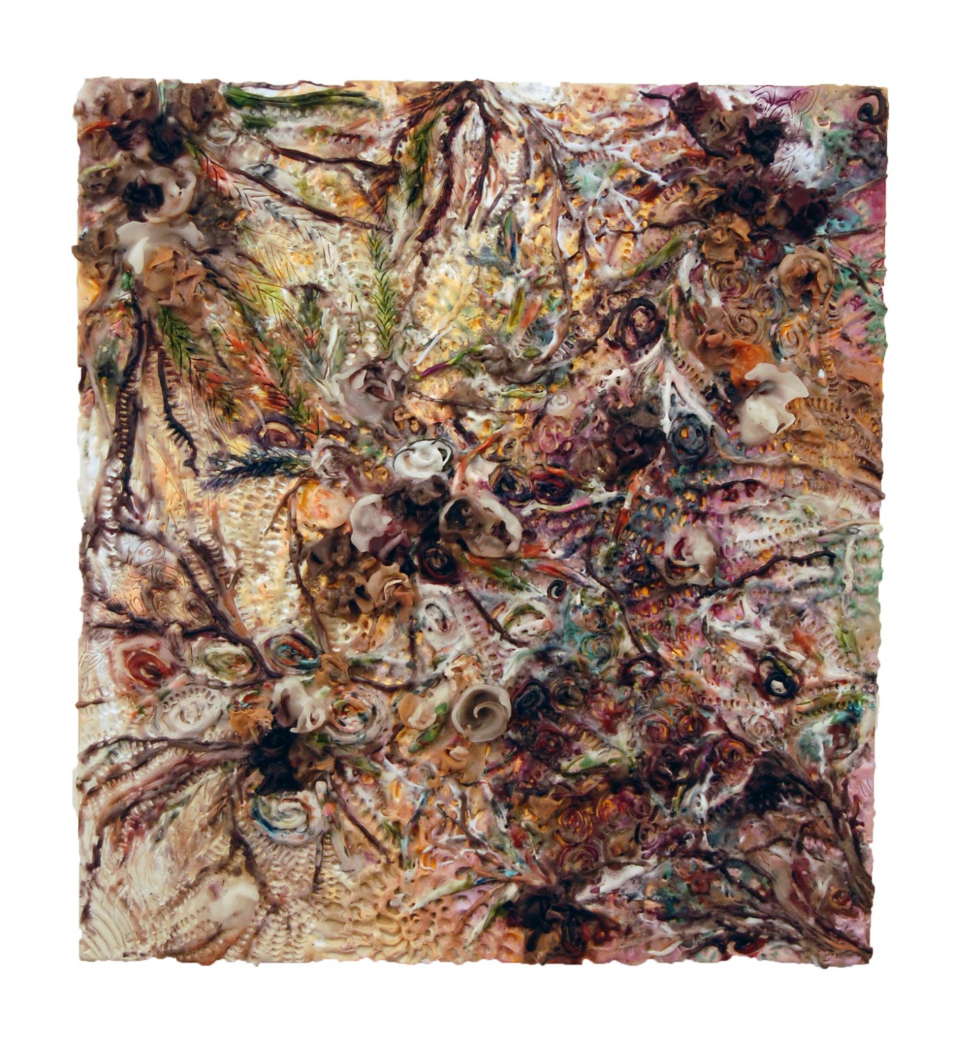 Gardeneden, 2012, encaustic on panel, 20 x 22 inches