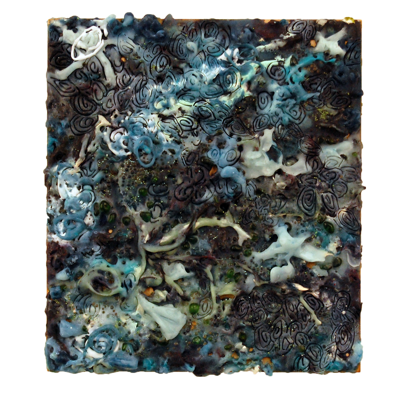 Sea Level, 2012, encaustic and glass beads on panel, 8 x 9 inches