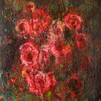 Roses, Ghosts, and Galaxies, 2007, encaustic on panel, 66 x 60 inches