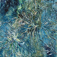 Thistle Denizens, 2010, encaustic on panel, 22 x 28 inches