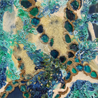 Sea Cells IV, 2011, encaustic, glass beads, and urethane on panel